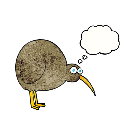 flightless: freehand drawn thought bubble textured cartoon kiwi bird Illustration