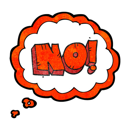 shout: freehand drawn thought bubble textured cartoon NO! shout Illustration