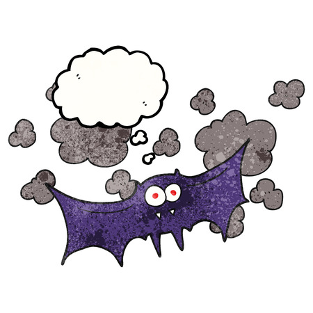freehand drawn thought bubble textured cartoon vampire bat