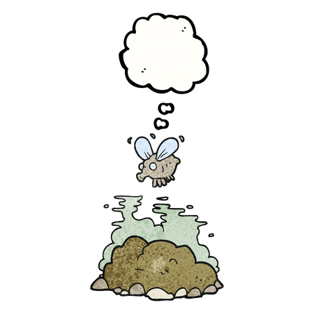manure: freehand drawn thought bubble textured cartoon fly and manure Illustration