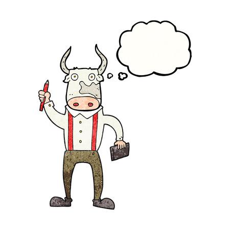 bull pen: freehand drawn thought bubble textured cartoon bull man