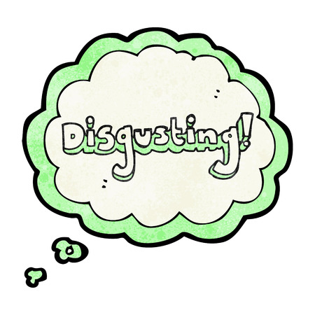 disgusting: disgusting freehand drawn thought bubble textured cartoon Illustration