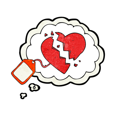luggage tag: freehand drawn thought bubble textured cartoon luggage tag on broken heart