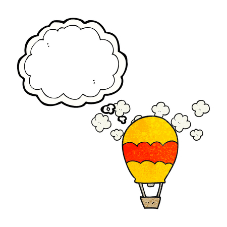 thought balloon: freehand drawn thought bubble textured cartoon hot air balloon Illustration