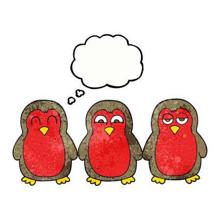robins: freehand drawn thought bubble textured cartoon christmas robins holding hands