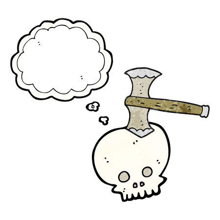cartoon axe: freehand drawn thought bubble textured cartoon axe in skull Illustration