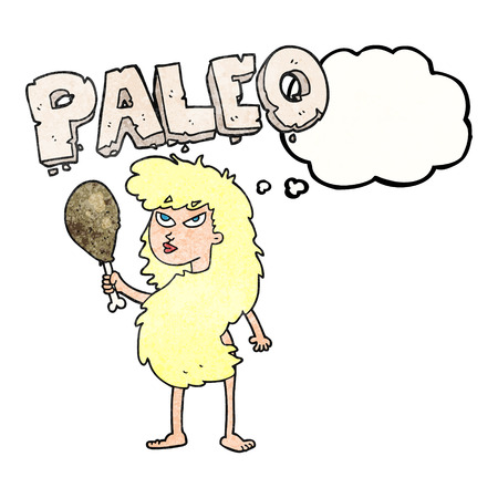 stoneage: freehand drawn thought bubble textured cartoon woman on paleo diet Illustration