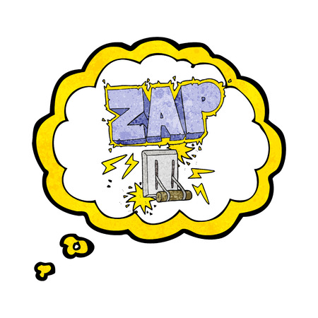 zapping: freehand drawn thought bubble textured cartoon electrical switch zapping
