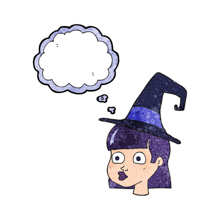 interested: freehand drawn thought bubble textured cartoon witch