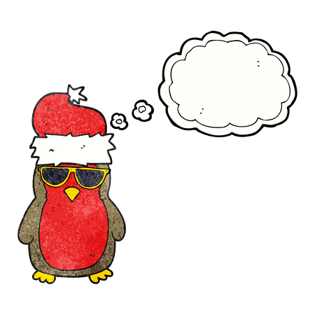 christmas robin: freehand drawn thought bubble textured cartoon cool christmas robin
