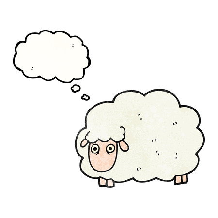 farting: freehand drawn thought bubble textured cartoon farting sheep