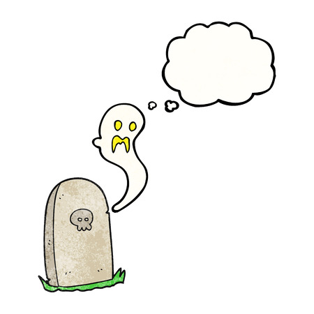 rising: freehand drawn thought bubble textured cartoon ghost rising from grave