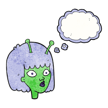 alien face: freehand drawn thought bubble textured cartoon female alien