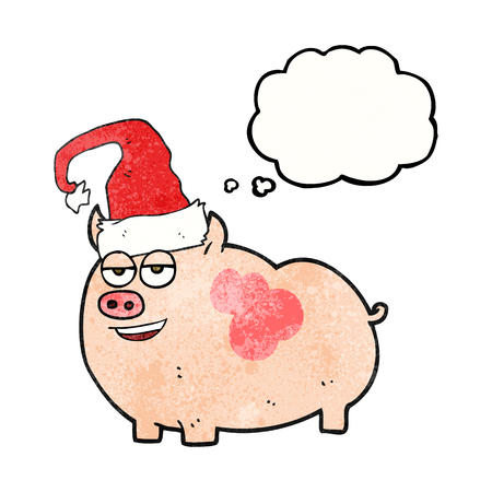 freehand drawn thought bubble textured cartoon christmas pig