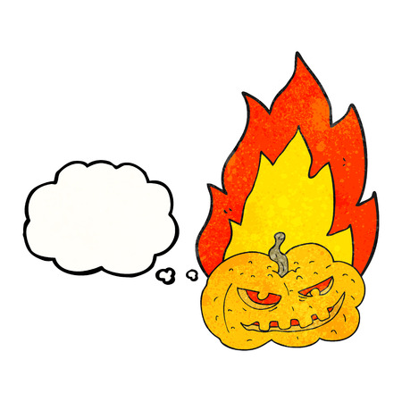 flaming: freehand drawn thought bubble textured cartoon flaming halloween pumpkin Illustration