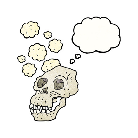 proto: freehand drawn thought bubble textured cartoon ancient skull