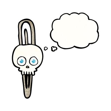 hairclip: freehand drawn thought bubble textured cartoon skull hairclip Illustration