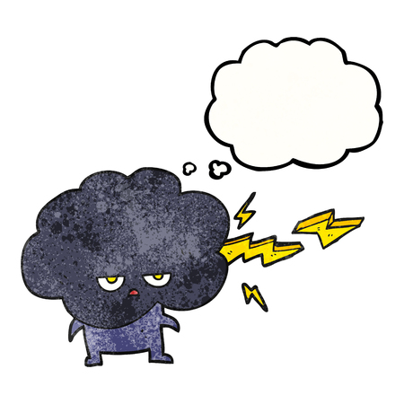 stormcloud: freehand drawn thought bubble textured cartoon raincloud character shooting lightning