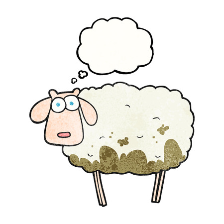 muddy: freehand drawn thought bubble textured cartoon muddy sheep Illustration