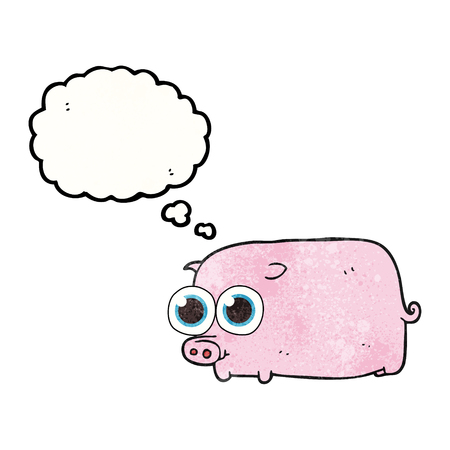 pretty eyes: freehand drawn thought bubble textured cartoon piglet with big pretty eyes