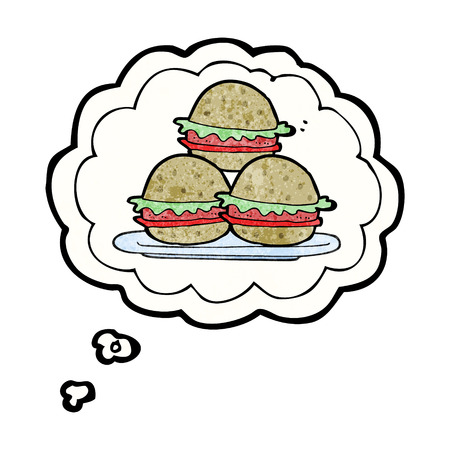 unhealthy thoughts: freehand drawn thought bubble textured cartoon plate of burgers Illustration