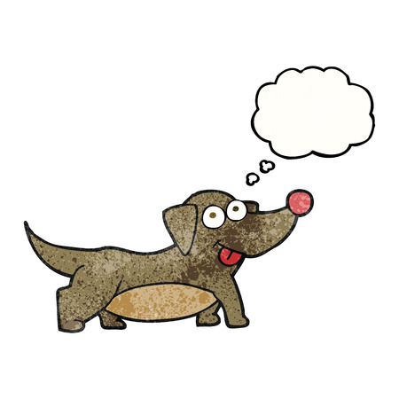 little dog: freehand drawn thought bubble textured cartoon happy little dog
