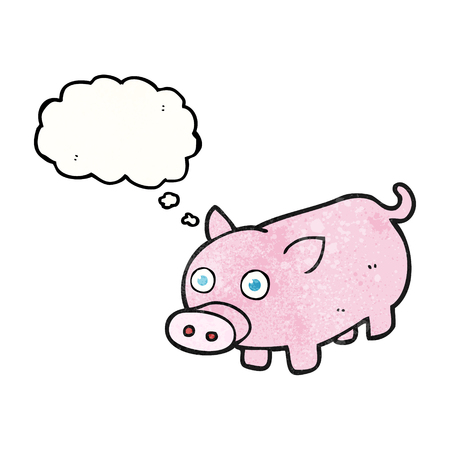 piglet: freehand drawn thought bubble textured cartoon piglet