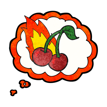 flaming: freehand drawn thought bubble textured cartoon flaming cherries