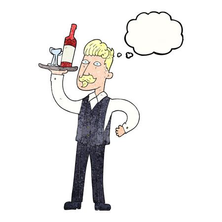 serving people: freehand drawn thought bubble textured cartoon waiter Illustration