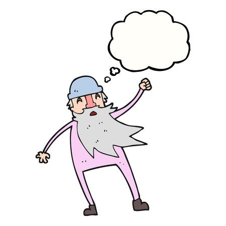 slip homme: freehand pens�e dessin�e bande dessin�e � bulles vieil homme en sous-v�tements thermiques