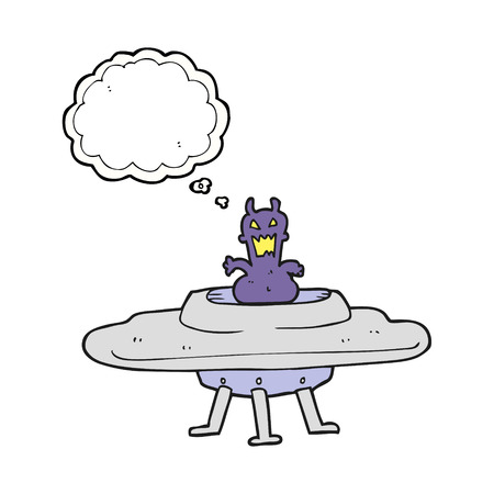 alien clipart: freehand drawn thought bubble cartoon alien in flying saucer Illustration