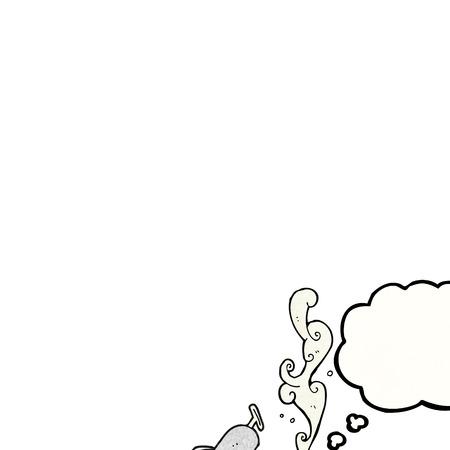 sardinas: a mano alzada pensamiento dibujado dibujos animados burbuja de lata de sardinas con textura
