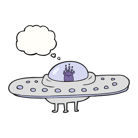 saucer: freehand drawn thought bubble cartoon flying saucer