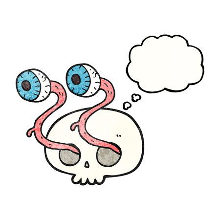 eyeballs: gross freehand drawn thought bubble textured cartoon skull with eyeballs