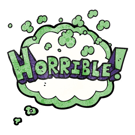 horrible: freehand drawn thought bubble textured cartoon word horrible