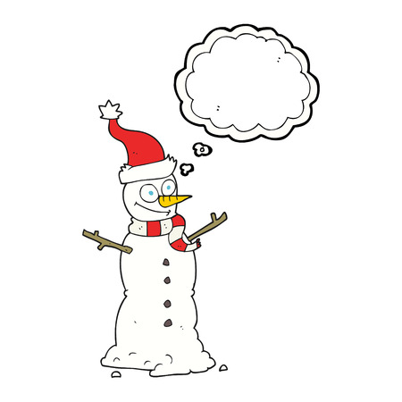 thought bubble: freehand drawn thought bubble cartoon snowman Illustration