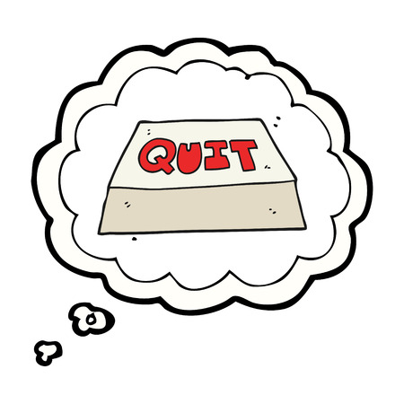 quit: freehand drawn thought bubble cartoon quit button