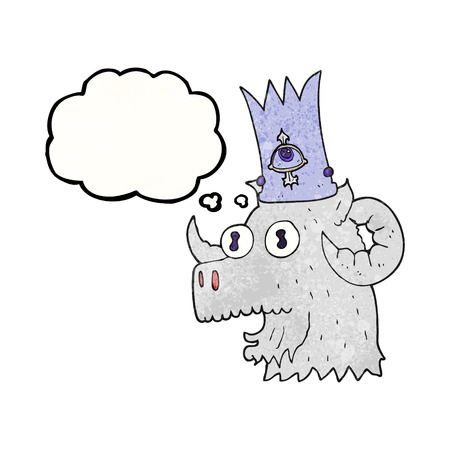 rams horns: freehand drawn thought bubble textured cartoon ram head with magical crown Illustration