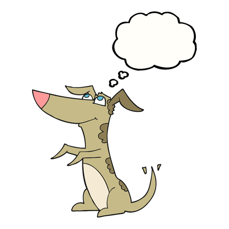 wagging: freehand drawn thought bubble cartoon dog Illustration