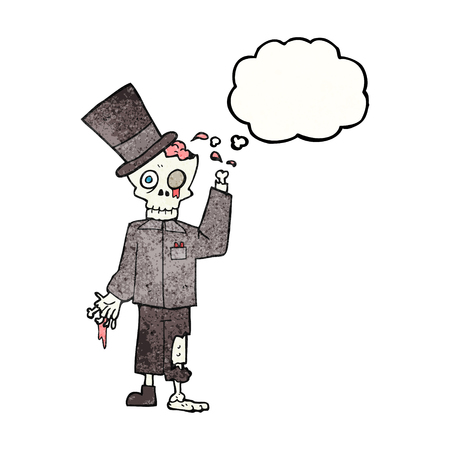 posh: freehand drawn thought bubble textured cartoon posh zombie