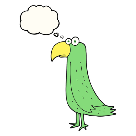 cartoon parrot: freehand drawn thought bubble cartoon parrot