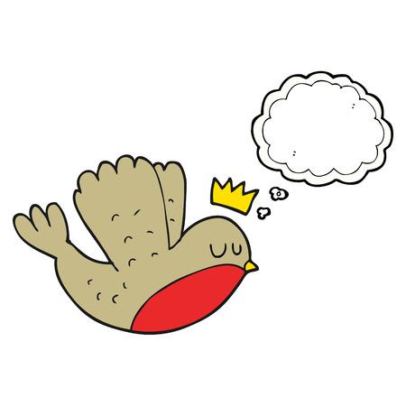 corona navidad: a mano alzada pensamiento dibujado burbujas de dibujos animados volando robin navidad con la corona