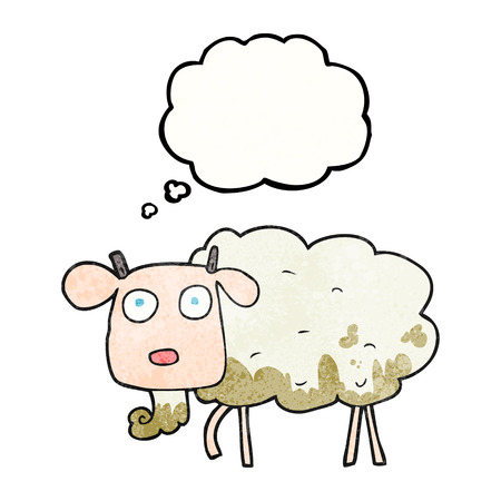 muddy: freehand drawn thought bubble textured cartoon muddy goat