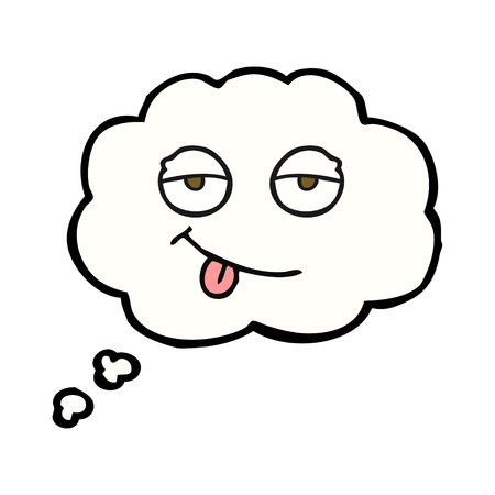 tired eyes: freehand drawn thought bubble cartoon tired eyes