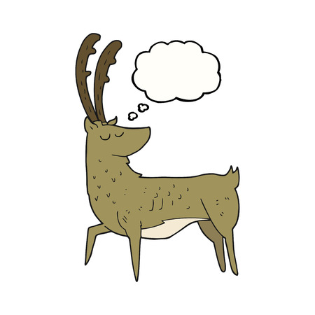 manly: freehand drawn thought bubble cartoon manly stag Illustration