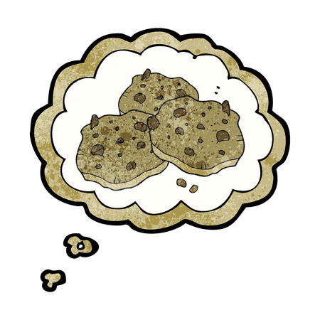 chocolate chip: freehand drawn thought bubble textured cartoon chocolate chip cookies