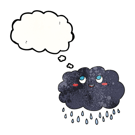 raincloud: freehand drawn thought bubble textured cartoon raincloud