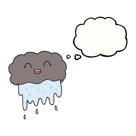 thought cloud: freehand drawn thought bubble cartoon rain cloud