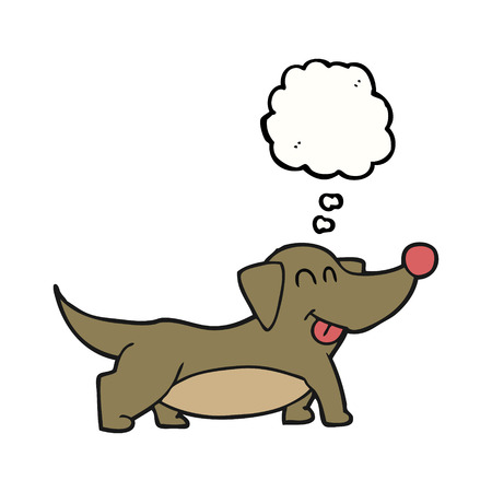 little dog: freehand drawn thought bubble cartoon happy little dog