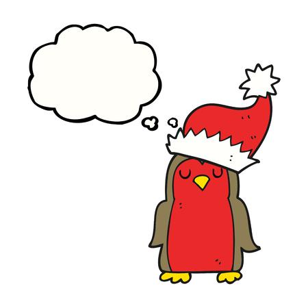 christmas robin: freehand drawn thought bubble cartoon christmas robin Illustration